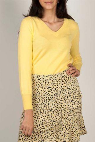 gele trui met structuur en ballonmouwen bernie knit