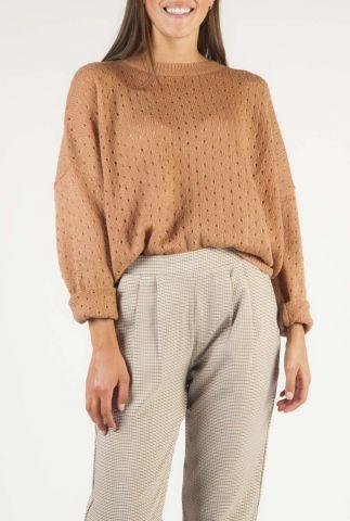 bruine oversized trui met ajour dessin en knoop details bernie