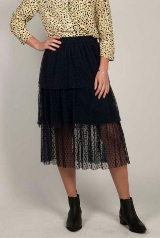 donkerblauwe tule midi rok met laagjes en stippen bilbao skirt