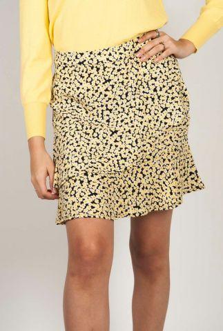 korte rok met gele bloemen print berta print skirt