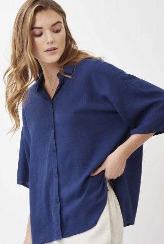 donkerblauwe oversized blouse met korte mouwen berya 8082