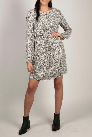 jurk met stippen print en smal strikceintuur beth print dress