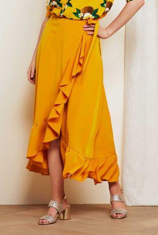 oker gele maxi wikkel rok met ruffles bibi skirt