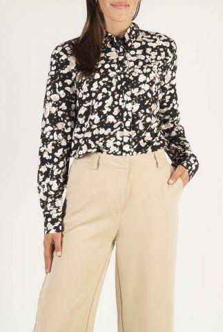 zwarte ecovero viscose blouse met gevlekte print bilda 7146