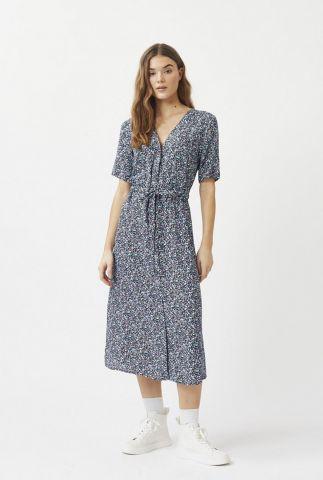 donker blauwe jurk met all-over print en v-hals biola 2219