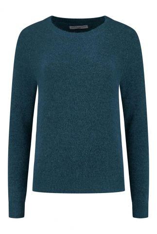 petrol kleurige trui met ronde halslijn birdie knit w20.75.1401