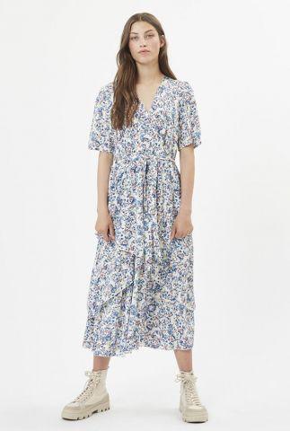 jurk met v-hals en fijn bloemen dessin birgitha 7457