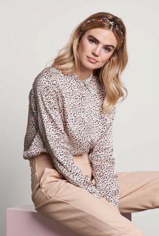 crème kleurige zijde look blouse  met stipjes print bl mitzy