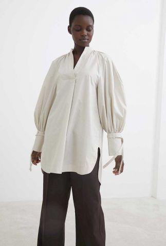 half lange katoenen blouse met v-hals bl reeves