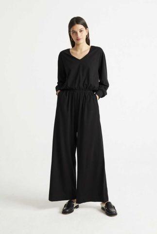 zwart jumpsuit met wijde pasvorm sonata jumpsuit wjs00053