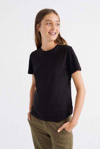 zwart t-shirt met korte mouwen en ronde hals juno t-shirt wts00212