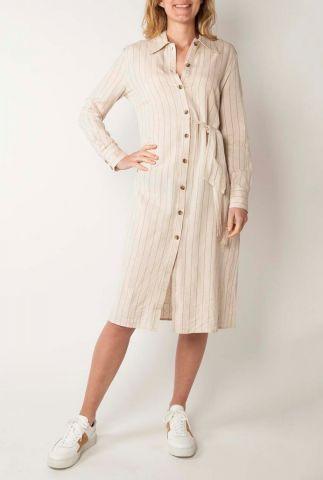 off white jurk met fijne streep van linnenmix blake dress