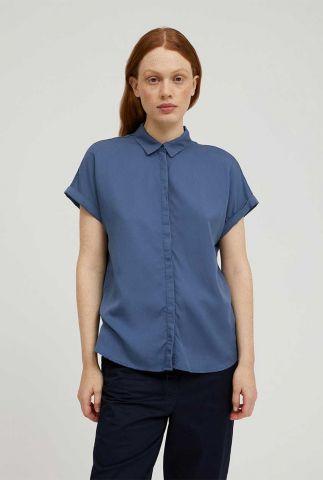 blauwe lyocell blouse met korte mouwen zonjaa 30001689