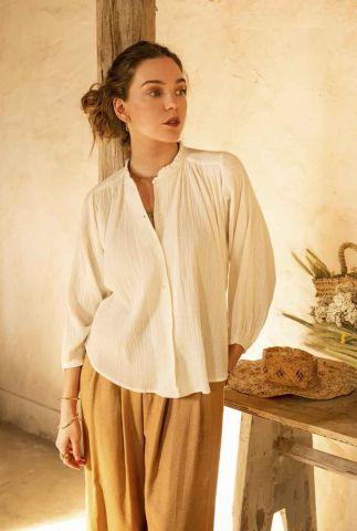 Off-white blouse met ruches kraag en 3/4 mouwen amor