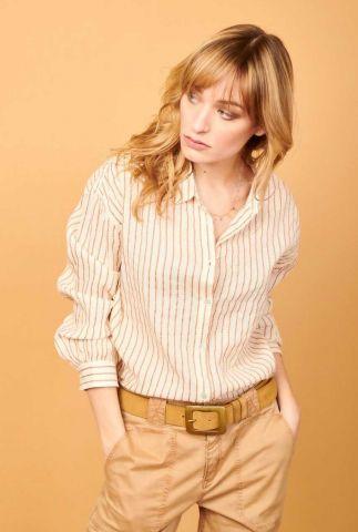 zand kleurige blouse met klassieke kraag en streep dessin ciflor