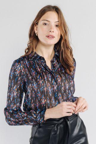 zwarte transparante blouse met gekleurde print evan 56262