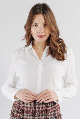 witte viscose blouse met v-hals en klassieke kraag thalie 56086