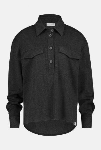 donker gemêleerde blouse met klassieke kraag w20n820