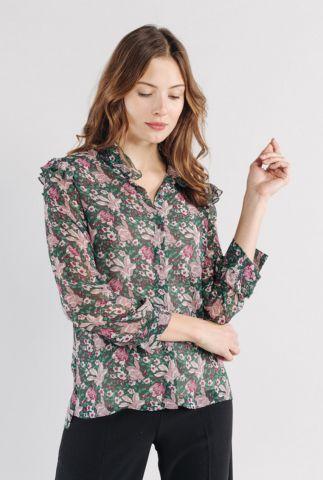 donker groene blouse met bloem dessin en ruches winnie 56168