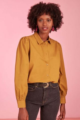 bruine katoenen blouse met pofmouwen emanu 1h210469