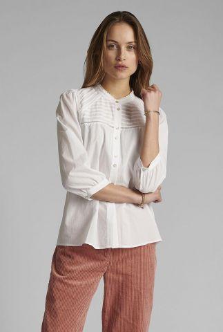 blouse met 3/4 mouwen en ajour details nucindy shirt 700385