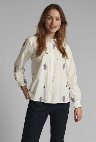 witte blouse met geborduurd dessin nuclove shirt 700391