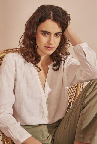 ecru kleurige blouse van katoen met v-hals en glitter knopen tiago