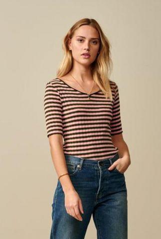 roze gestreept t-shirt met rib dessin jul t1382s