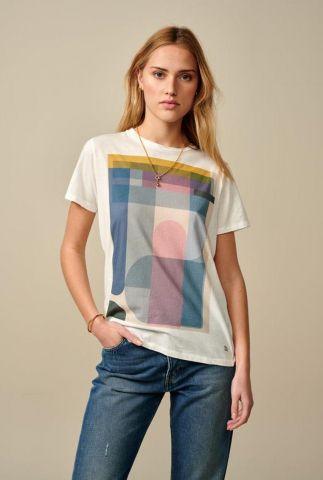 wit t-shirt met grafische afbeelding covi11 t1301c