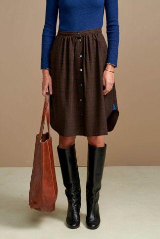 donker bruine rok met ruit dessin en knoop detail alabama c0993