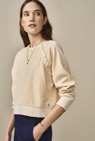creme kleurige sweater met knoop detail viana11 t1385