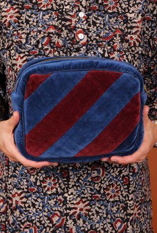 fluwelen make-up tas met streep dessin nova make up bag