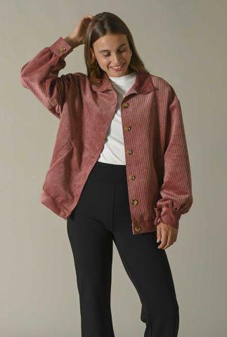 roze oversized jas in rib dessin bobby corduroy jacket