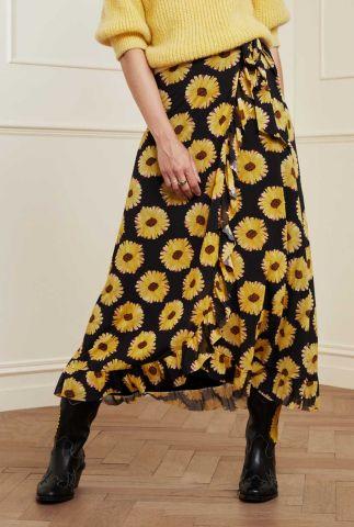 zwarte wikkel rok met bloemen print bobo frill skirt sunset flower