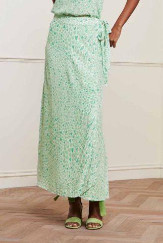 maxi wikkelrok met groene hartjes print bobo tara skirt