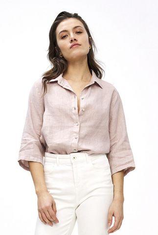licht roze linnen blouse met 3/4 mouwen bodil linen blouse