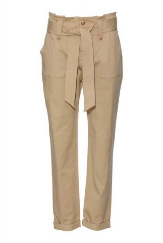 beige katoenmix cargo broek met knopen en ceintuur bolette pant