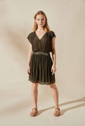 khaki jurk met v-hals en glitter details bouza