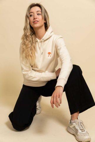 crème kleurige hoodie met David Bowie opdruk bowie hoodie