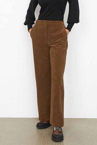 cognac kleurige corduroy broek met wijde pijpen boya trousers