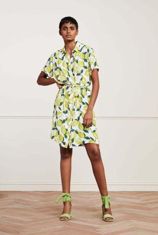 crème kleurige blouse jurk met citroenen dessin Boyfriend Dress