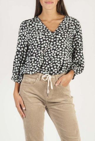 zwarte blouse met v-hals en bloemen dessin brandee