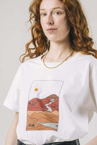 wit oversized t-shirt met landschap opdruk gobi white 1314