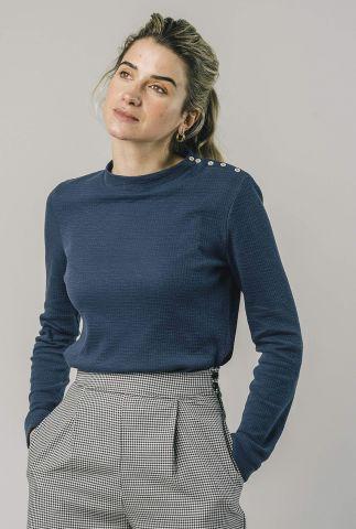 donkerblauwe trui met een ruit dessin perkins long sleeve 1318
