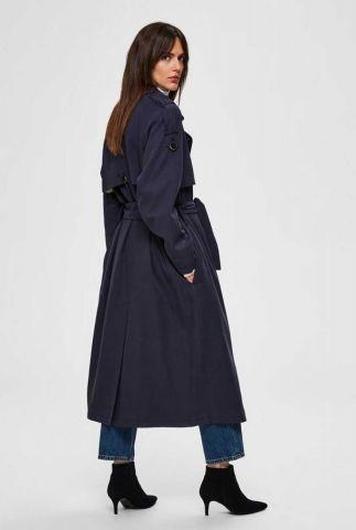 donkerblauwe trenchcoat met ceintuur bren trench coat 16071230