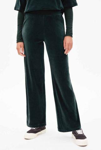 donkergroene velours broek met wijde pijpen asteyaa 30003365