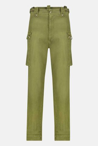 legergroene straight fit broek van katoen met zakken w20w286