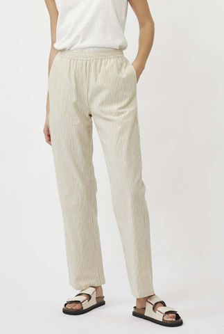 khaki broek met streep dessin en elastische tailleband kathaline 8071