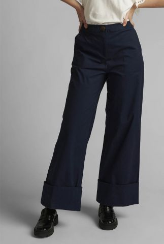 donkerblauwe broek met wijde pijpen nuboxy pant 700463