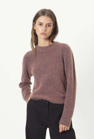 donker roze trui van mohair mix brooky knit volumen o-neck